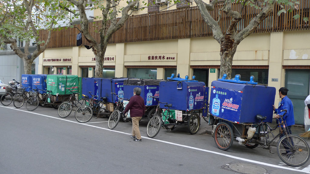 Water delivery tricycles lined up along the south side of Wuyuan Lu (五原路) east of Wukang Lu (武康路), former French Concession, Shanghai