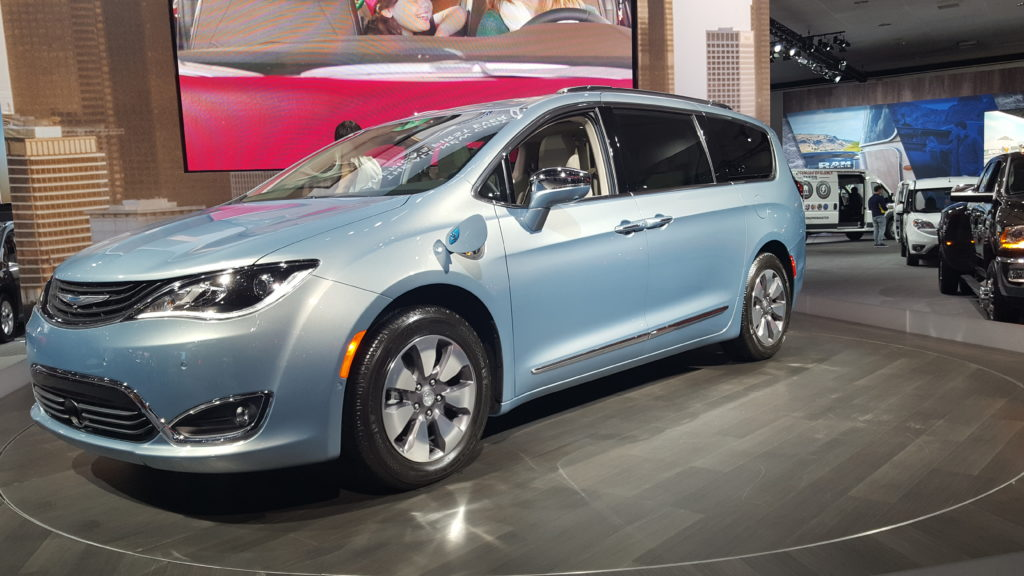 The Chrysler Pacifica model, the nation's first ever plug-in hybrid electric minivan.