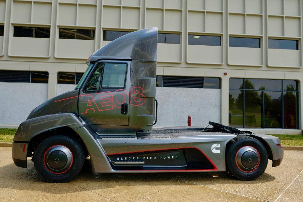 Photo of a Cummins-Aeos electric semi truck